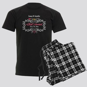 Just Married Custom Men's Dark Pajamas