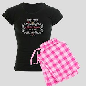 Just Married Custom Women's Dark Pajamas