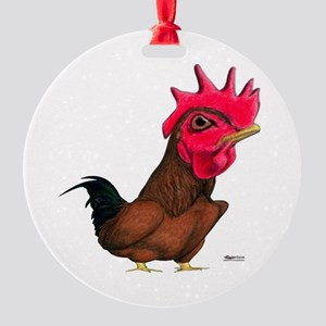 Cocky Little Rooster Round Ornament