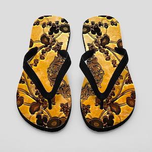 Wonderful floral design in rusty metal Flip Flops
