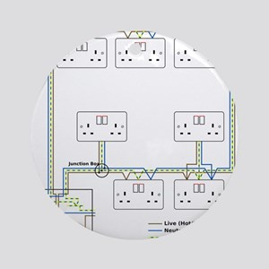 Electrical Circuit Round Ornament