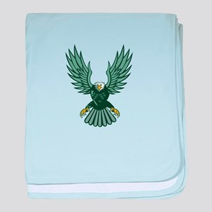 Bald Eagle Swooping Wing Spread Isolated Retro bab