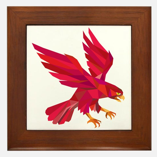Peregrine Falcon Swooping Low Polygon Framed Tile