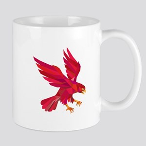Peregrine Falcon Swooping Low Polygon Mugs