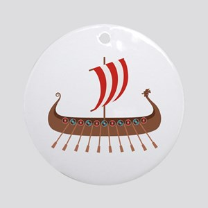 Viking Boat Round Ornament