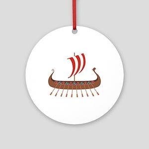 Viking Boat Round Ornament