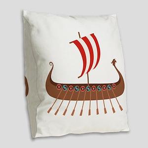 Viking Boat Burlap Throw Pillow
