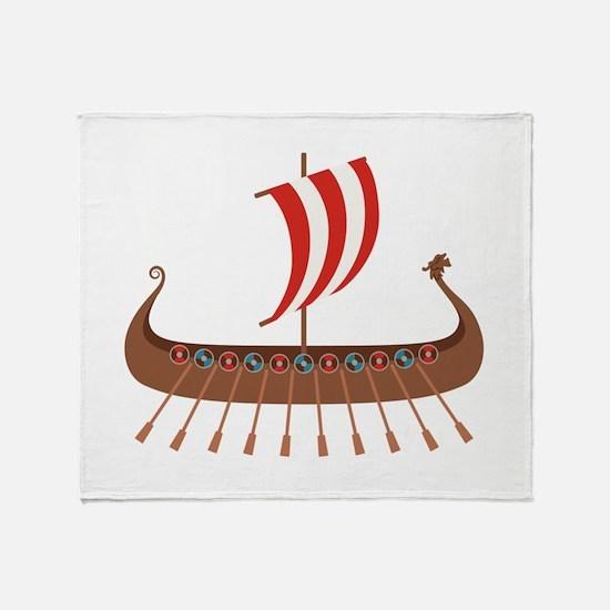 Viking Boat Throw Blanket