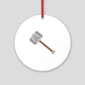 Thors Hammer Round Ornament