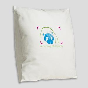 happy dogs photography Burlap Throw Pillow