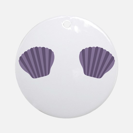 Purple Mermaid Bikini Round Ornament