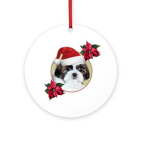 Christmas Shih Tzu dog Round Ornament by Admin_CP6582520