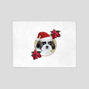 Christmas Shih Tzu dog 5'x7'Area Rug