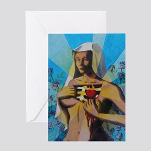 Woman with a Sacred Heart Greeting Card