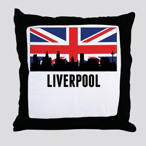 Liverpool British Flag Throw Pillow