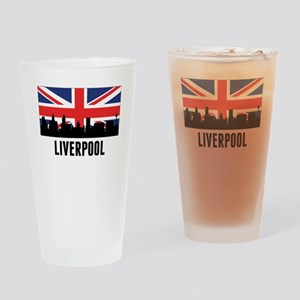 Liverpool British Flag Drinking Glass