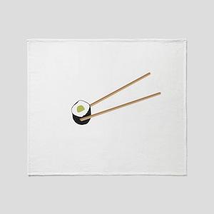 Sushi rolls with chopsticks Throw Blanket