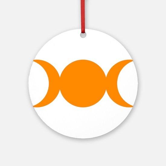 Orange Triple Goddess Round Ornament