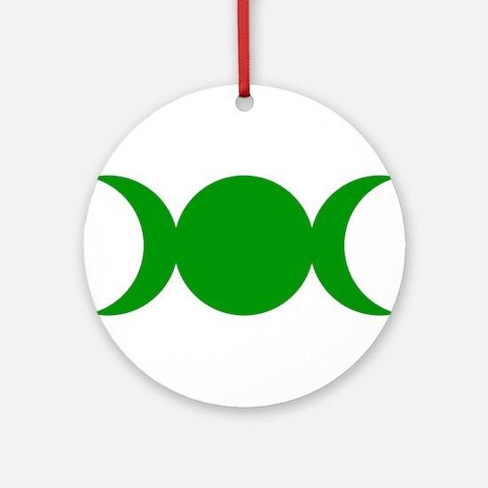 Green Triple Goddess Round Ornament