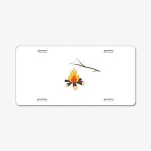 Campfire with marshmallows Aluminum License Plate