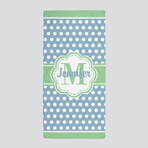 Sky Blue and Green Polka Dots Monogram Beach Towel