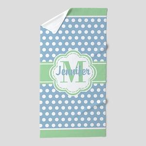 8737d725f9556 Sky Blue and Green Polka Dots Monogram Beach Towel