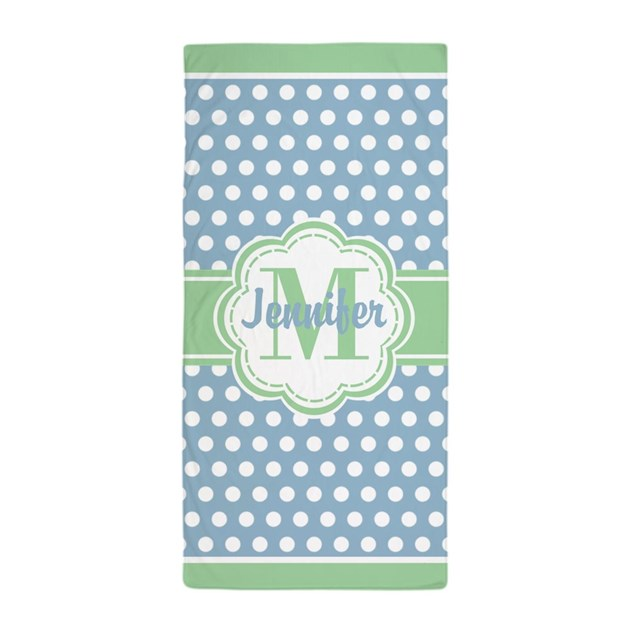 Sky Blue And Green Polka Dots Monogram Beach Towel By