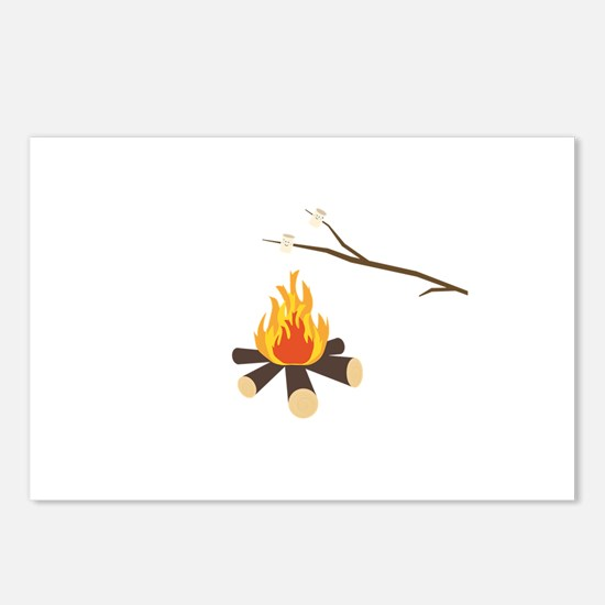 Campfire with marshmallow Postcards (Package of 8)