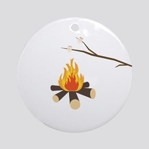 Campfire with marshmallows Round Ornament