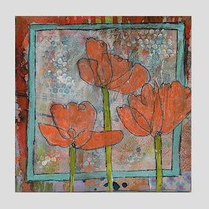 orange poppy flower art Tile Coaster