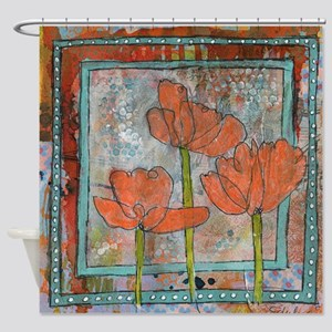 orange poppy flower art Shower Curtain