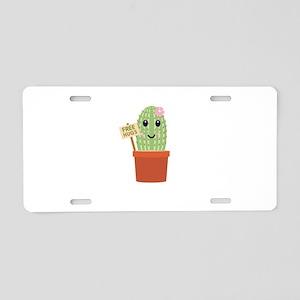 Cactus free hugs Aluminum License Plate