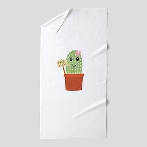 Cactus free hugs Beach Towel