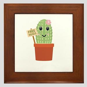 Cactus free hugs Framed Tile