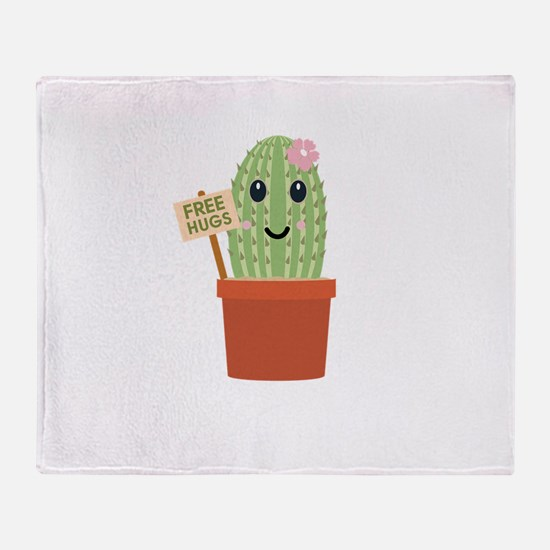 Cactus free hugs Throw Blanket