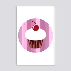 Vanilla Cupcake With Pink Stripe Mini Poster Print