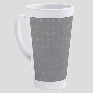 Silver Grey Ornament Pattern 17 oz Latte Mug