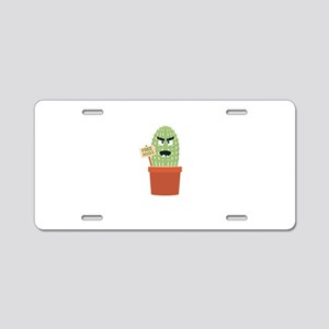 Angry cactus with free hugs Aluminum License Plate