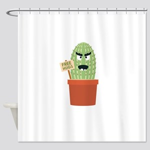 Angry cactus with free hugs Shower Curtain