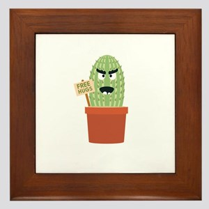 Angry cactus with free hugs Framed Tile