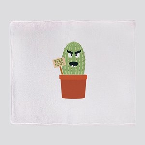 Angry cactus with free hugs Throw Blanket