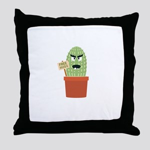 Angry cactus with free hugs Throw Pillow