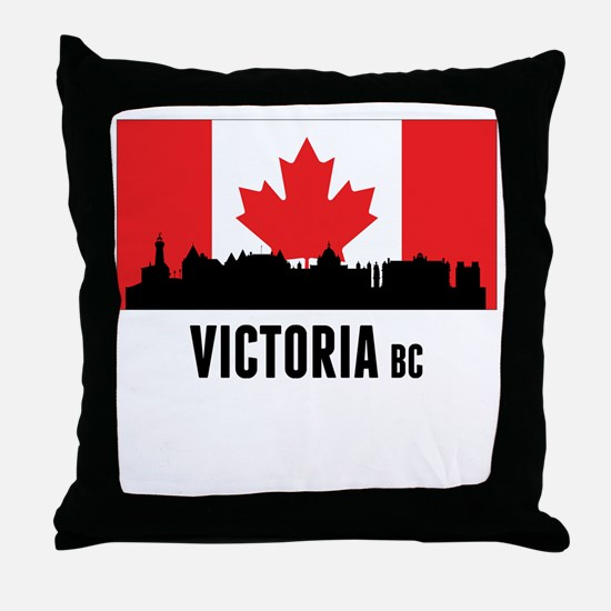 Victoria BC Canadian Flag Throw Pillow