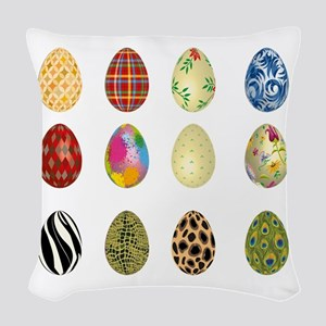 colorful easter eggs Woven Throw Pillow