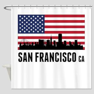 San Francisco CA American Flag Shower Curtain
