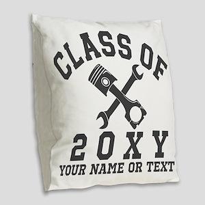 Class of 20?? Automotive Burlap Throw Pillow