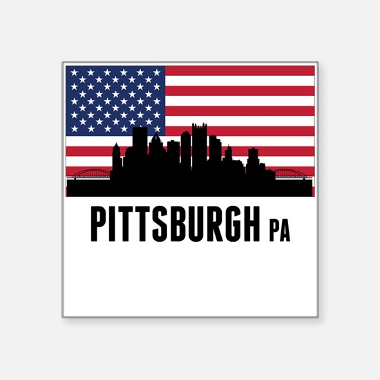 Pittsburgh PA American Flag Sticker
