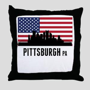 Pittsburgh PA American Flag Throw Pillow