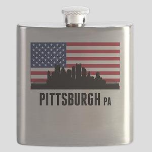 Pittsburgh PA American Flag Flask