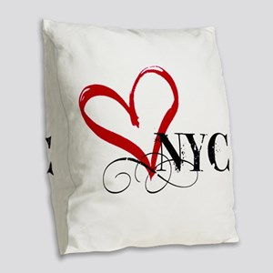 LOVE NYC FANCY Burlap Throw Pillow
